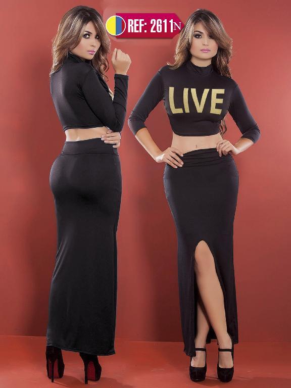 Vestido Moda Colombiano Cereza  - Ref. 111 -2611 NEGRA