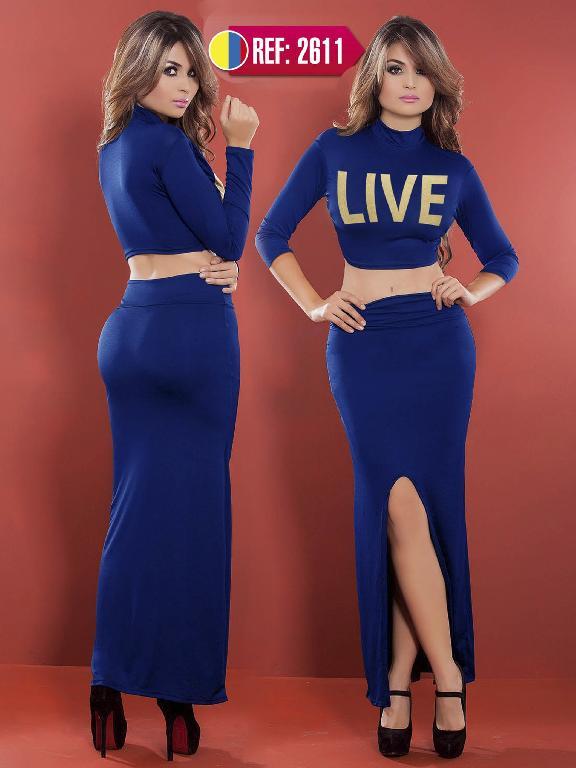 Vestido Moda Colombiano Cereza - Ref. 111 -2611 AZUL