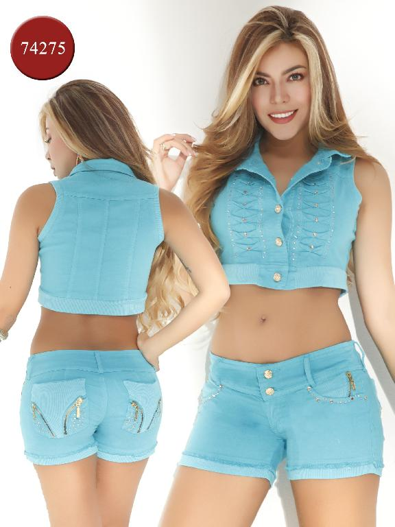 Conjunto Short Moda Yes Brazil - Ref. 113 -7427 Azul
