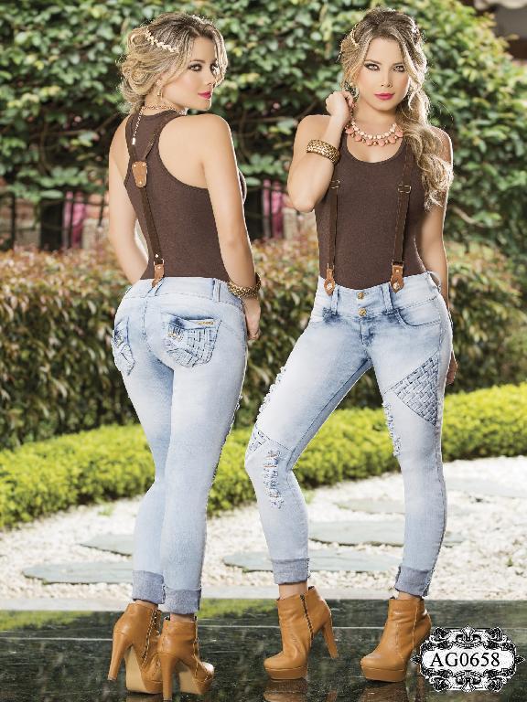 Jeans Con Cargaderas Levantacola Colombiano  - Ref. 124 -0658