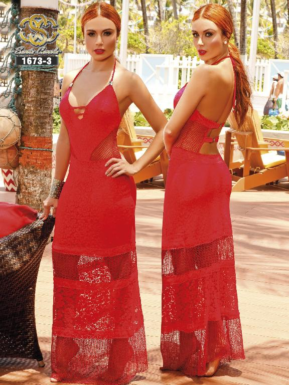 Vestido Moda Colombiana Santa Canela  - Ref. 130 -1673 ROJO