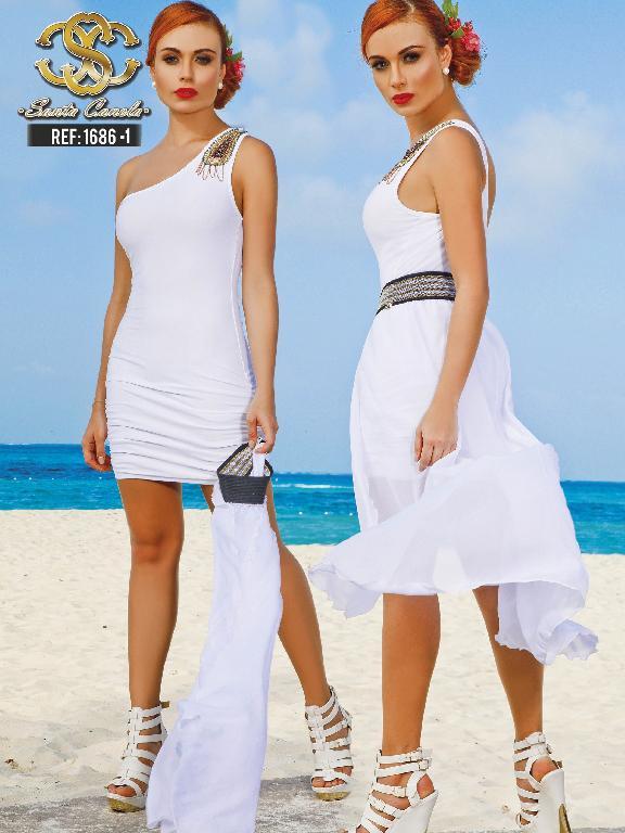 Vestido Moda Colombiano Santa Canela  - Ref. 130 -1686 BLANCO