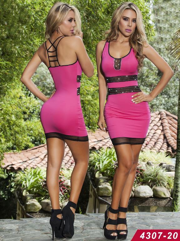 Vestido Moda Colombiano Cereza - Ref. 111 -4307-20 Rosado