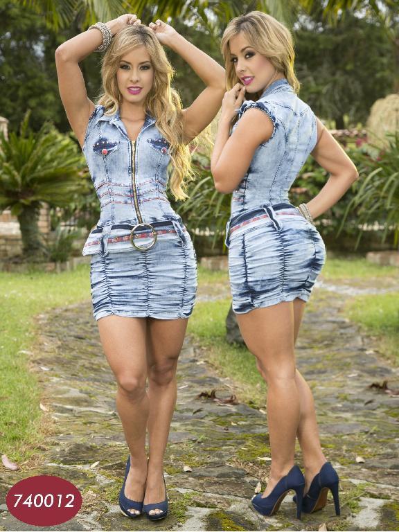 Vestido Moda Colombiano Yes Brazil  - Ref. 113 -7400 AZUL CLARO