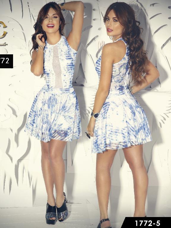 Vestido Moda Colombiana Santa Canela  - Ref. 130 -1772-5 Azul