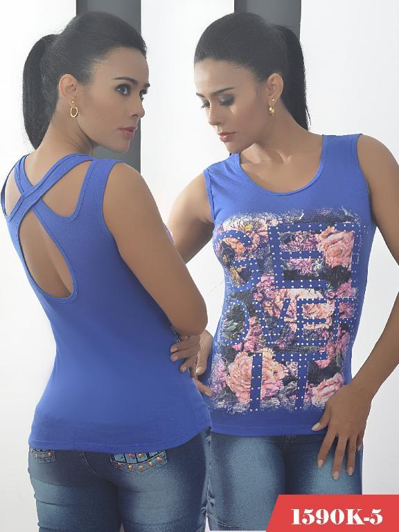 Blusa Moda Colombiana Kpriccio  - Ref. 233 -1590 5 Azul