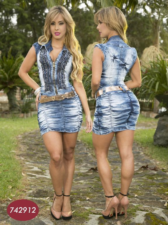 Vestido  Colombiano Yes Brazil  - Ref. 113 -7429 AZUL CLARO