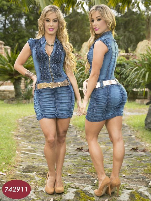 Vestido Levantacola Colombiano Yes Brazil  - Ref. 113 -7429 AZUL OSCURO