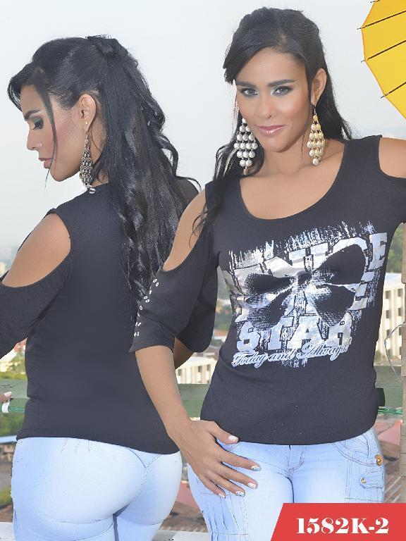 Blusa Moda Colombiana Kpriccio  - Ref. 233 -1582 2 Negro