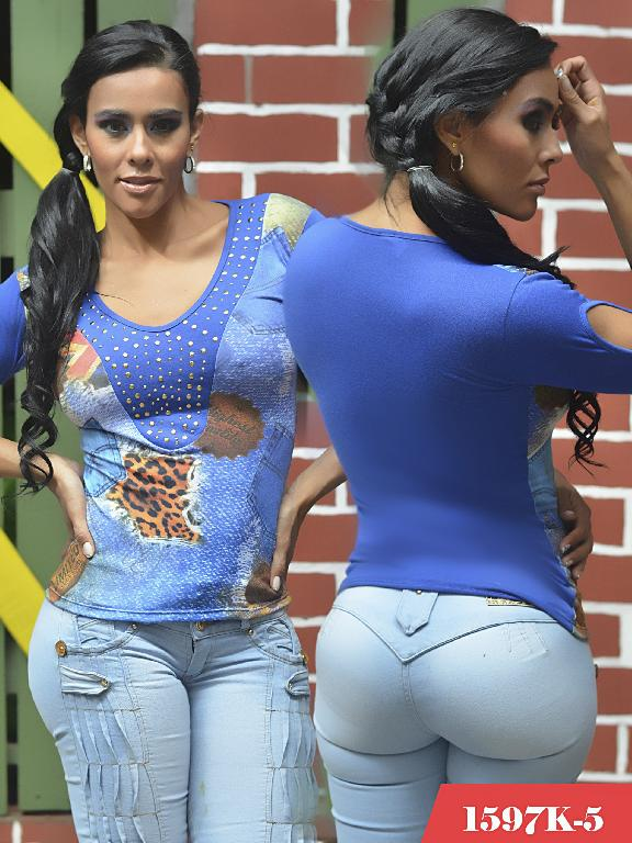 Blusas Moda Colombiana Kpriccio - Ref. 233 -1597-5 Azul