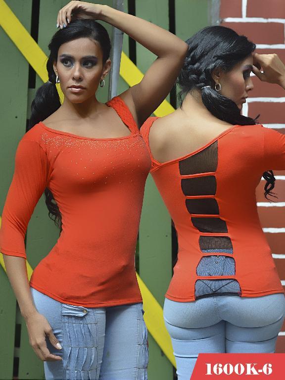 Blusas Moda Colombiana Kpriccio - Ref. 233 -1600 6 Naranja