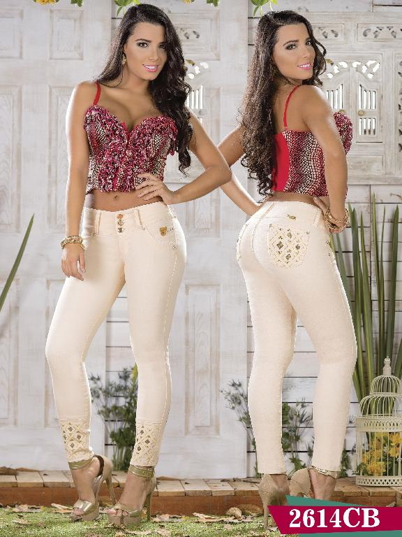 Colombian Butt Lifting Jeans Beige Color Capellini Boutique - Ref. 106 -2614 CB
