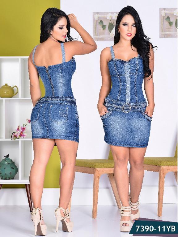 Vestido Moda Yes Brazil - Ref. 113 -7390 Azul Oscuro