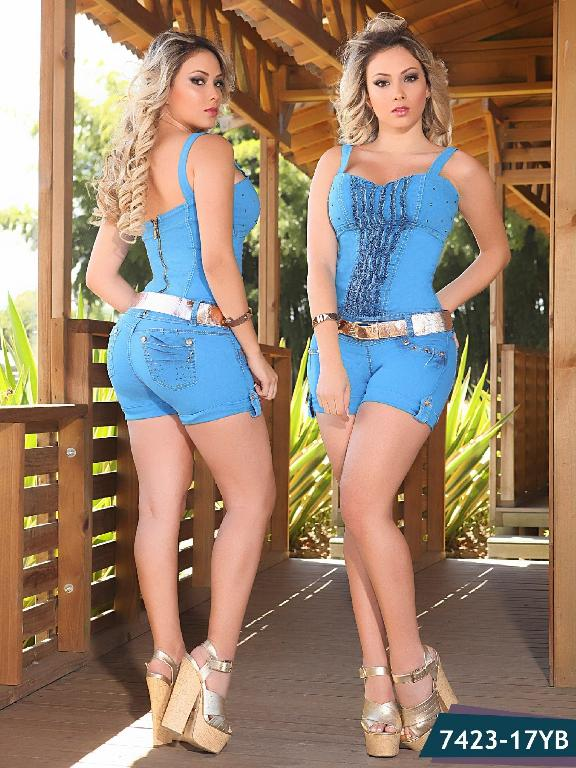 Enterizo Short Levantacola Colombiano Yes Brazil  - Ref. 113 -7423 Turquesa