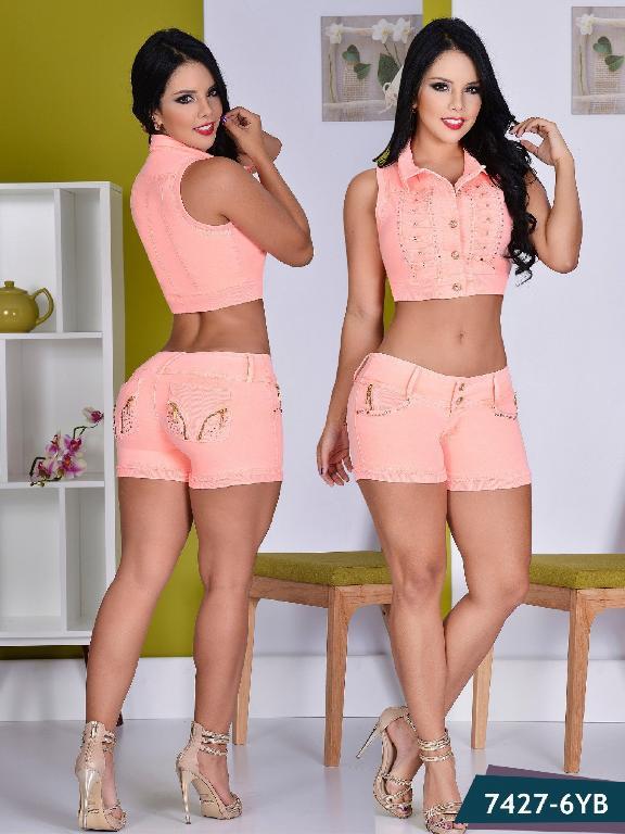 Conjunto Short Moda Yes Brazil - Ref. 113 -7427 Naranja