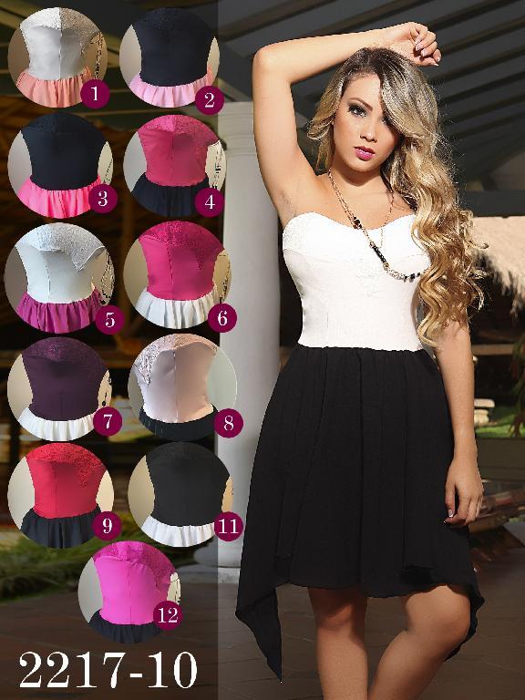 Vestido Moda Fuxia Rosado Negro - Ref. 240 -22178 Rosado Negro