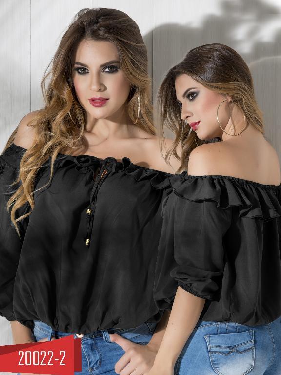 Blusa Moda Colombiana Cereza Negra  - Ref. 111 -20022-2 Negro