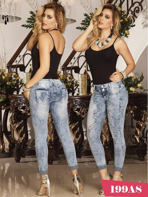 Colombian Butt Lifting Jeans Blue Asi Sea  - Ref. 124 -0199