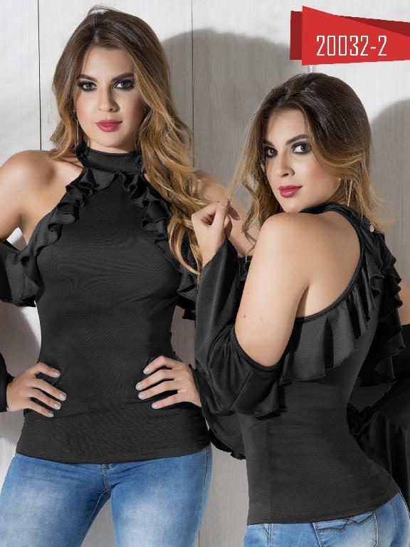 Blusa Moda Colombiana Cereza Negra - Ref. 111 -20032-2 Negro
