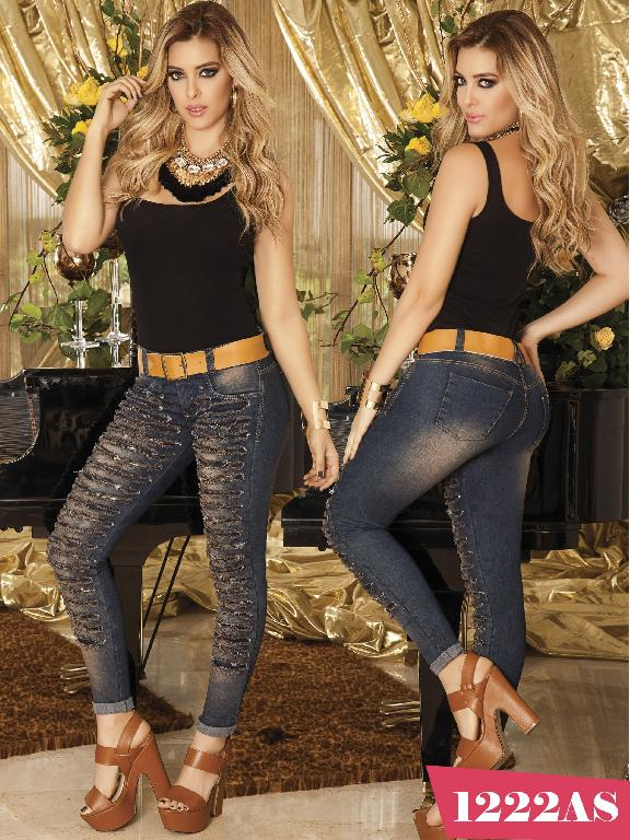 Colombian Butt Lifting Jeans Blue  Asi Sea  - Ref. 124 -1222 AS