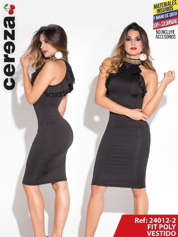 Vestido Moda Colombiano Cereza Negro - Ref. 111 -24012-2 Negro