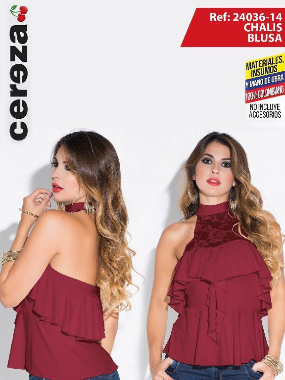 Blusa Moda Colombiano Cereza Vinotinto  - Ref. 111 -24036-14 vinotinto