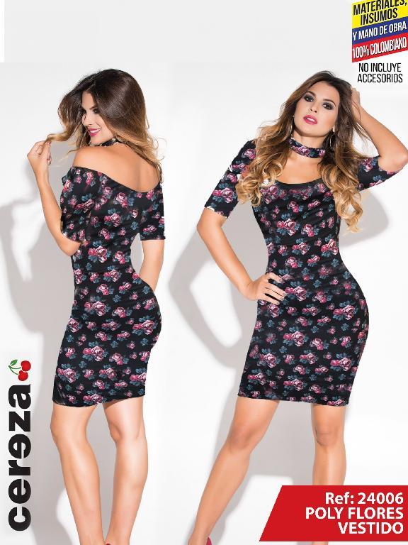 Vestido Colombiano Cereza Negro Con Flores  - Ref. 111 -24006-2 Negro Con Flores