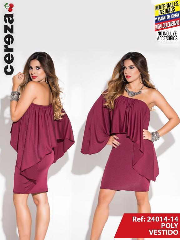 Vestido Moda Colombiano Cereza Vinotinto - Ref. 111 -24014-14 Vinotinto