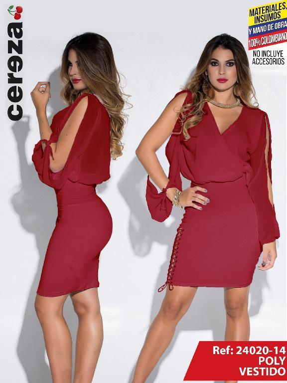 Vestido Moda Colombiano Cereza Vinotinto - Ref. 111 -24020-14 Vinotinto