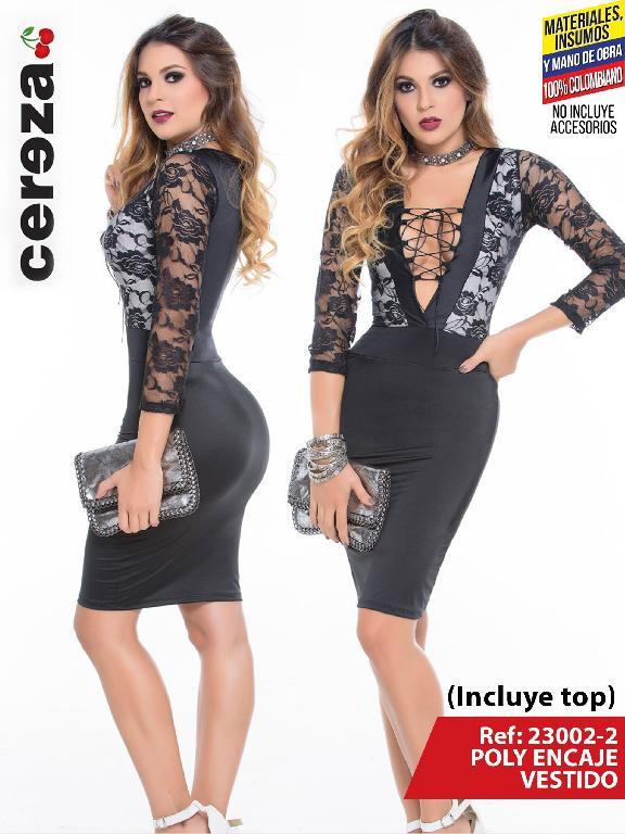 Vestido Moda Colombiano Cereza - Ref. 111 -23002-2 Negro