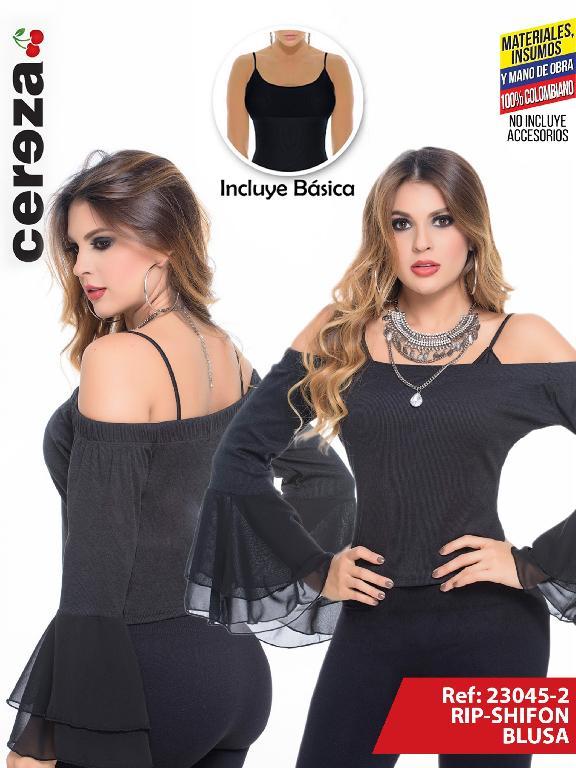 Blusa Moda Colombiano Cereza  - Ref. 111 -23045-2 Negro