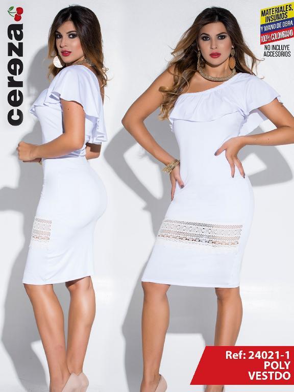 Vestido Moda Colombiana Cereza  - Ref. 111 -24021-1 Blanco
